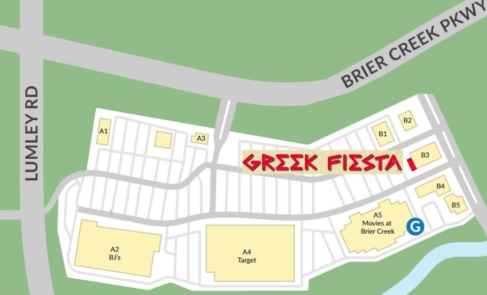 Brier Creek Close Up Map of Greek Fiesta Restaurant in North Carolina